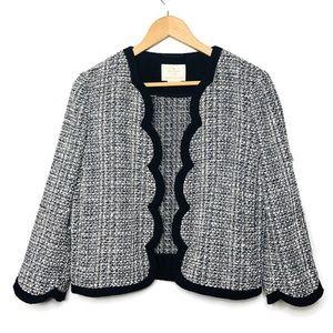 Kate Spade Black white woven blazer open front M